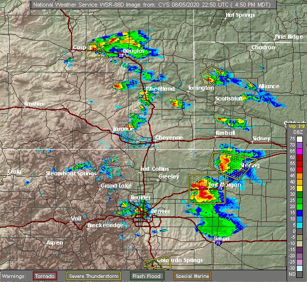 Radar Image for Severe Thunderstorms near Glenrock, WY at 8/5/2020 4:55 PM MDT