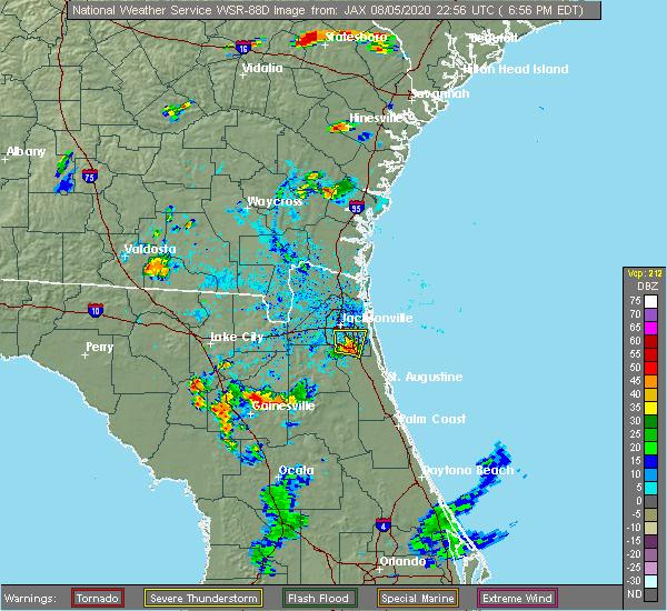 Radar Image for Severe Thunderstorms near Jacksonville, FL at 8/5/2020 7:03 PM EDT