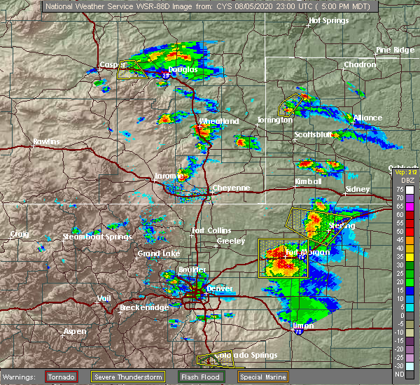 Radar Image for Severe Thunderstorms near Chugwater, WY at 8/5/2020 5:04 PM MDT