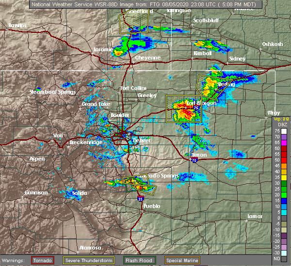 Radar Image for Severe Thunderstorms near Snyder, CO at 8/5/2020 5:13 PM MDT