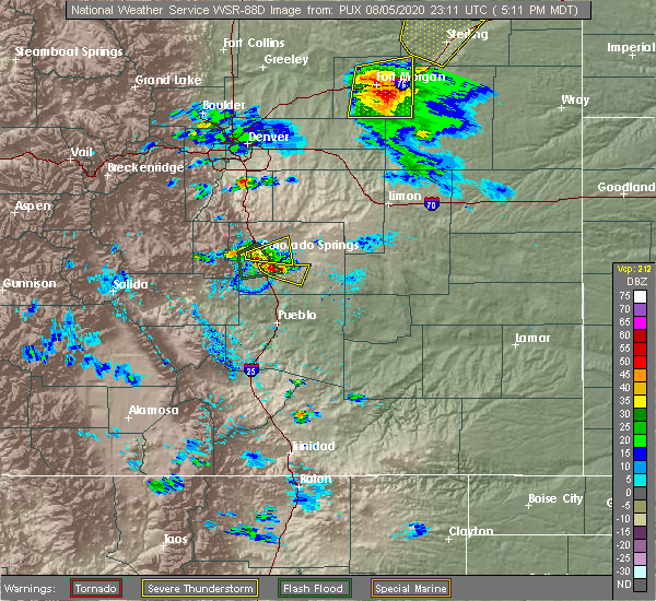 Radar Image for Severe Thunderstorms near Colorado Springs, CO at 8/5/2020 5:16 PM MDT