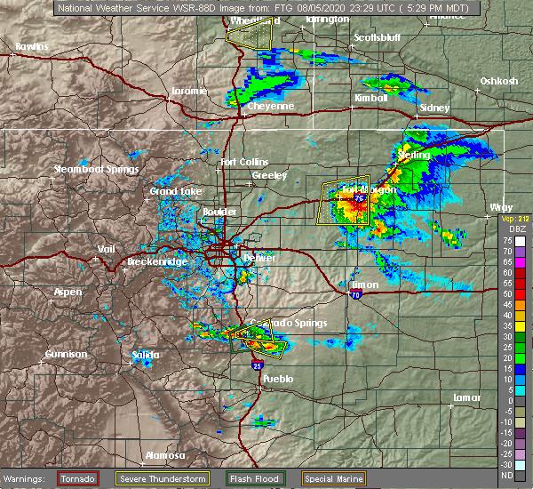 Radar Image for Severe Thunderstorms near Snyder, CO at 8/5/2020 5:33 PM MDT