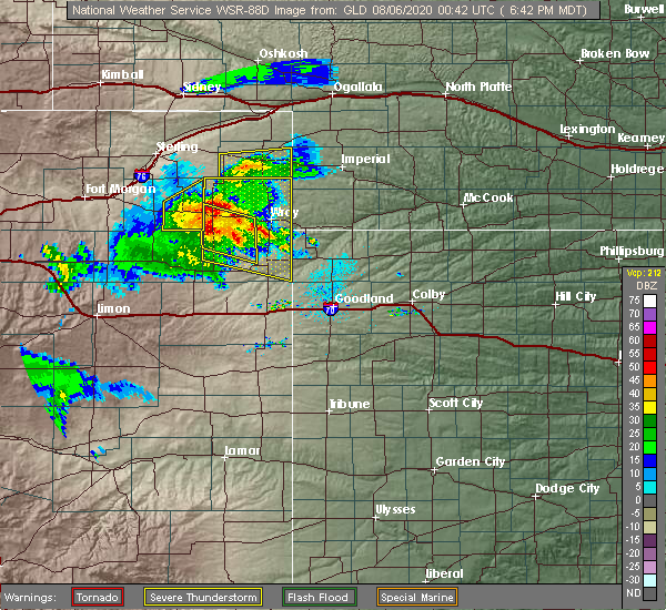 Radar Image for Severe Thunderstorms near Laird, CO at 8/5/2020 6:49 PM MDT