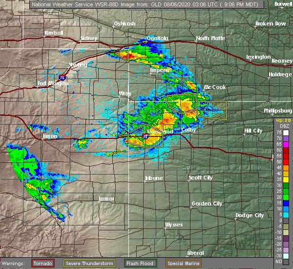 Radar Image for Severe Thunderstorms near Goodland, KS at 8/5/2020 9:13 PM MDT