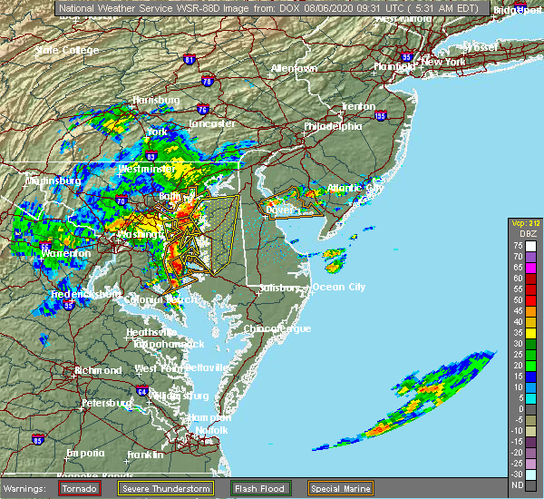 Radar Image for Severe Thunderstorms near Barclay, MD at 8/6/2020 5:39 AM EDT