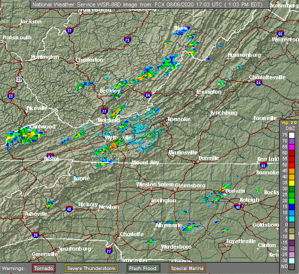 Radar Image for Severe Thunderstorms near Woodlawn, VA at 8/6/2020 1:05 PM EDT