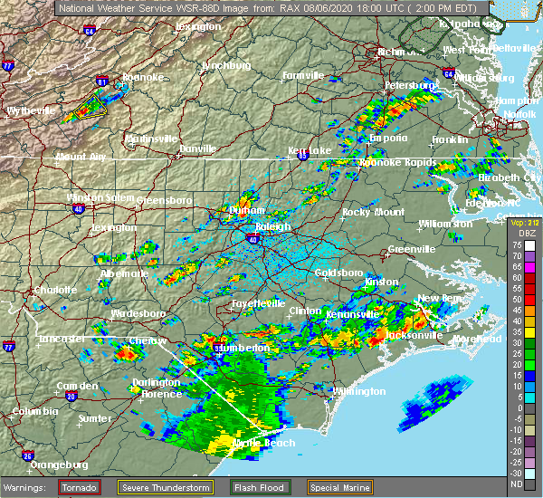 Radar Image for Severe Thunderstorms near Youngsville, NC at 8/6/2020 2:06 PM EDT