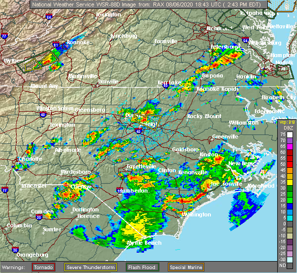 Radar Image for Severe Thunderstorms near Youngsville, NC at 8/6/2020 2:49 PM EDT