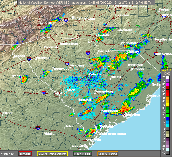 Radar Image for Severe Thunderstorms near Kershaw, SC at 8/6/2020 3:25 PM EDT