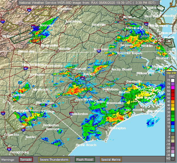 Radar Image for Severe Thunderstorms near Bailey, NC at 8/6/2020 3:45 PM EDT