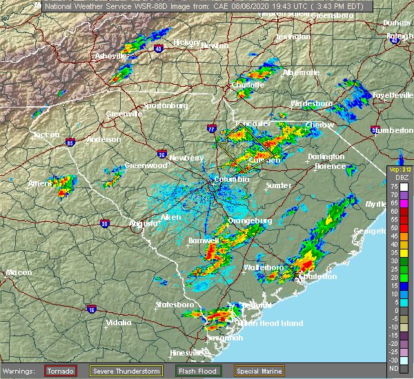 Radar Image for Severe Thunderstorms near Kershaw, SC at 8/6/2020 3:46 PM EDT