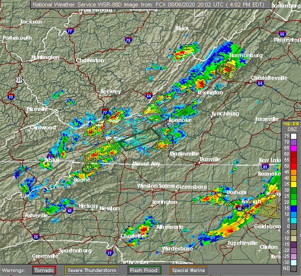 Radar Image for Severe Thunderstorms near Woodlawn, VA at 8/6/2020 4:04 PM EDT