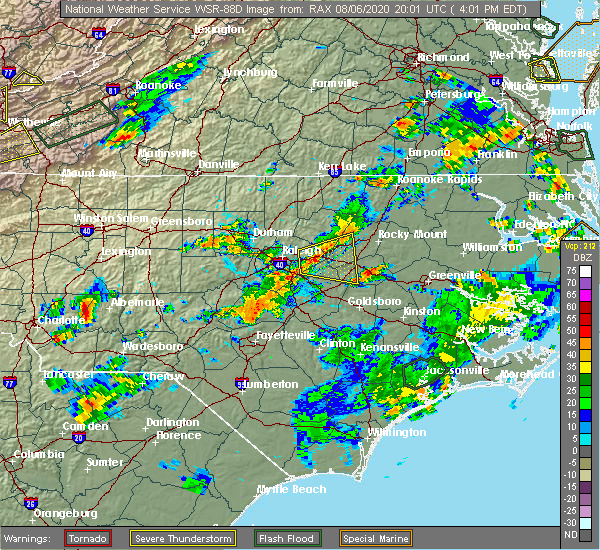 Radar Image for Severe Thunderstorms near Bailey, NC at 8/6/2020 4:08 PM EDT