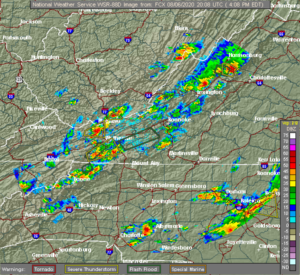 Radar Image for Severe Thunderstorms near Woodlawn, VA at 8/6/2020 4:15 PM EDT