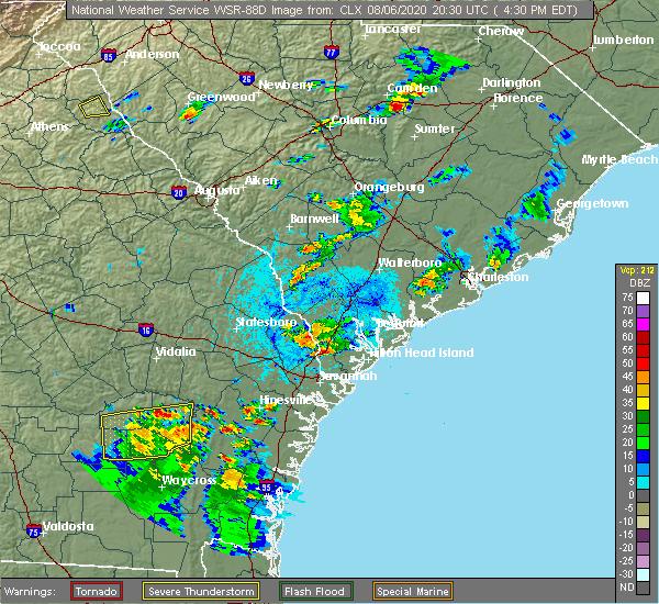 Radar Image for Severe Thunderstorms near Hardeeville, SC at 8/6/2020 4:39 PM EDT