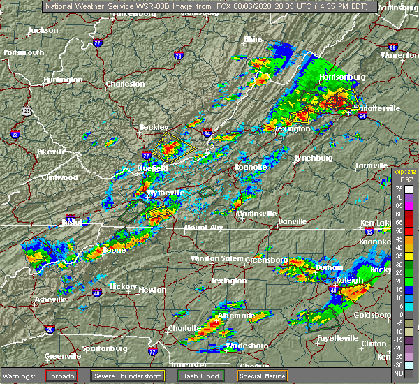 Radar Image for Severe Thunderstorms near Woodlawn, VA at 8/6/2020 4:41 PM EDT