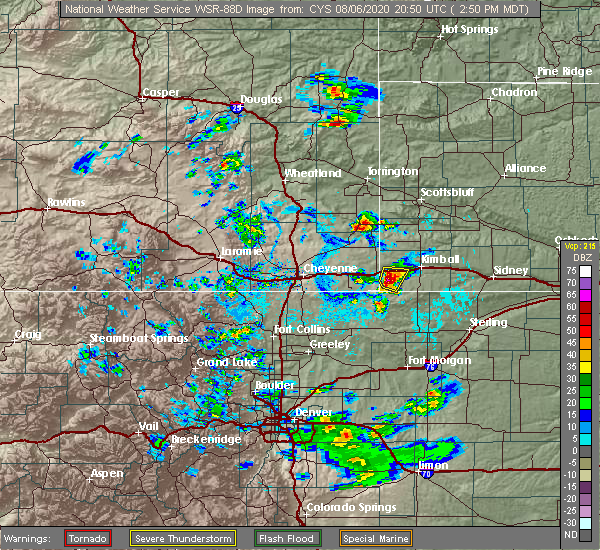 Radar Image for Severe Thunderstorms near Grover, CO at 8/6/2020 2:54 PM MDT
