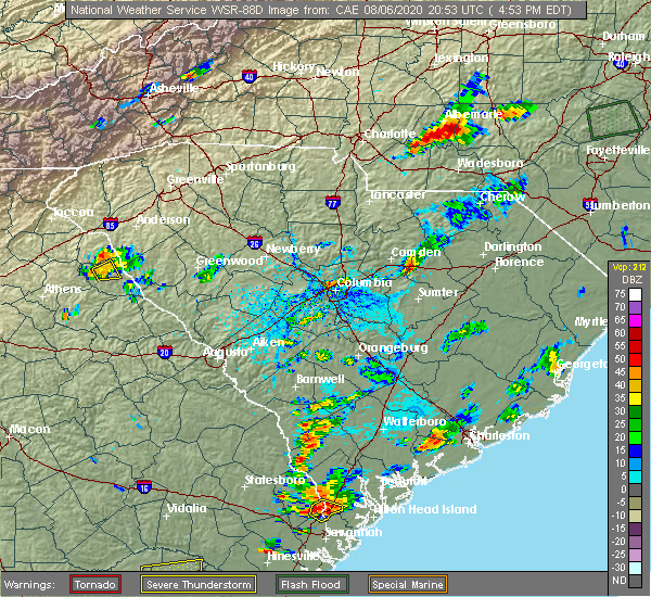 Radar Image for Severe Thunderstorms near Camden, SC at 8/6/2020 4:57 PM EDT
