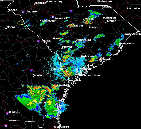 Radar Image for Severe Thunderstorms near Hardeeville, SC at 8/6/2020 5:00 PM EDT