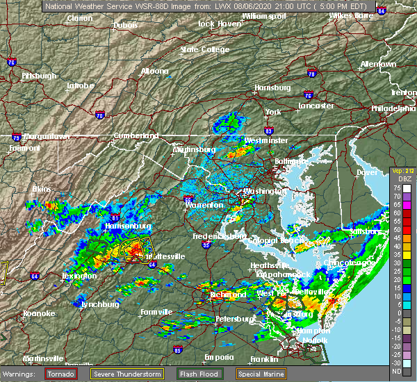 Radar Image for Severe Thunderstorms near Pantops, VA at 8/6/2020 5:05 PM EDT