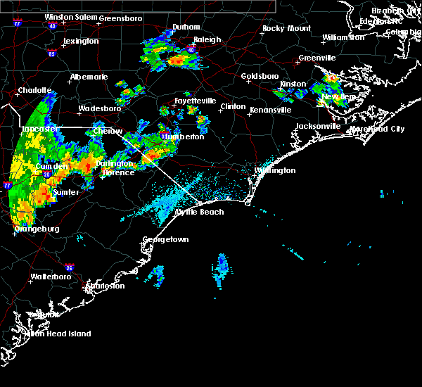 Radar Image for Severe Thunderstorms near Fair Bluff, NC at 7/2/2015 5:52 PM EDT