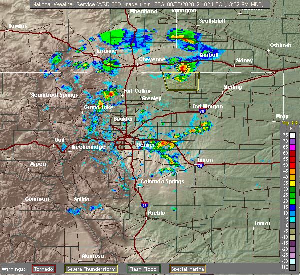 Radar Image for Severe Thunderstorms near Strasburg, CO at 8/6/2020 3:05 PM MDT
