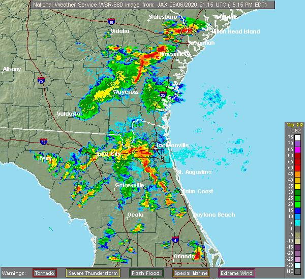 Radar Image for Severe Thunderstorms near Jacksonville, FL at 8/6/2020 5:20 PM EDT