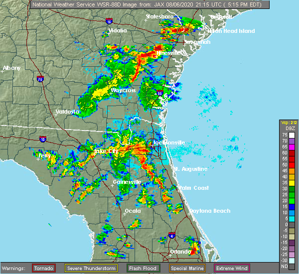 Radar Image for Severe Thunderstorms near Fruit Cove, FL at 8/6/2020 5:20 PM EDT