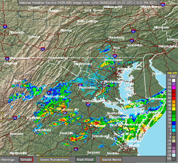 Radar Image for Severe Thunderstorms near Orange, VA at 8/6/2020 5:31 PM EDT