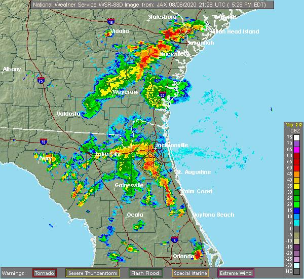 Radar Image for Severe Thunderstorms near Jacksonville, FL at 8/6/2020 5:33 PM EDT