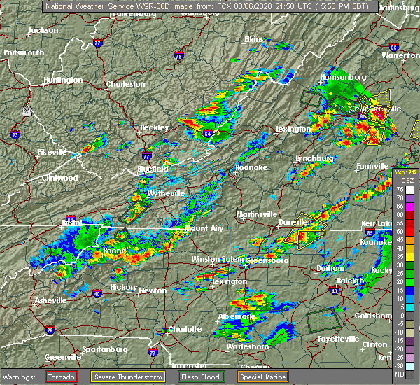 Radar Image for Severe Thunderstorms near White Plains, NC at 8/6/2020 5:56 PM EDT