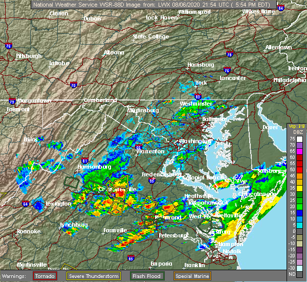Radar Image for Severe Thunderstorms near Orange, VA at 8/6/2020 5:58 PM EDT