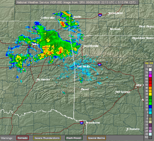 Radar Image for Severe Thunderstorms near Park Hill, OK at 8/6/2020 5:15 PM CDT