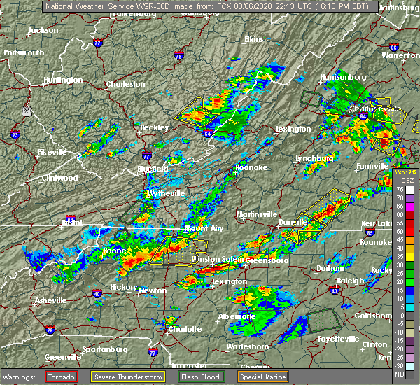 Radar Image for Severe Thunderstorms near White Plains, NC at 8/6/2020 6:18 PM EDT