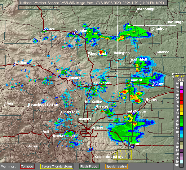 Radar Image for Severe Thunderstorms near Sterling, CO at 8/6/2020 4:28 PM MDT