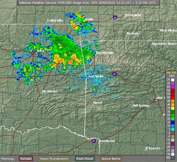 Radar Image for Severe Thunderstorms near Cherry Tree, OK at 8/6/2020 5:29 PM CDT