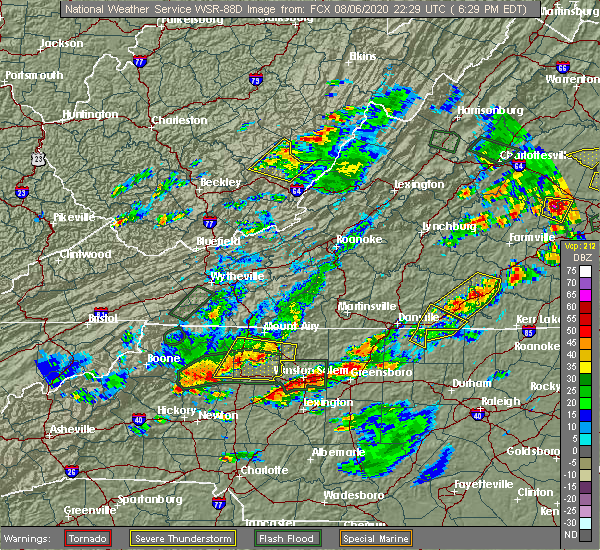 Radar Image for Severe Thunderstorms near Winston-Salem, NC at 8/6/2020 6:35 PM EDT