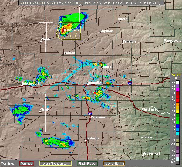 Radar Image for Severe Thunderstorms near Boise City, OK at 8/6/2020 6:15 PM CDT