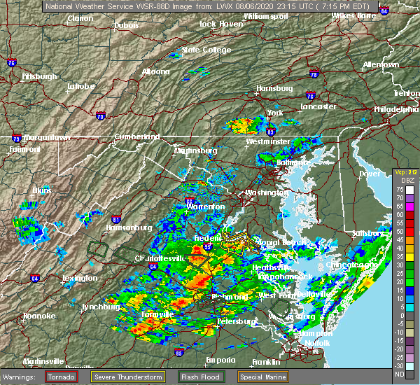 Radar Image for Severe Thunderstorms near Fredericksburg, VA at 8/6/2020 7:25 PM EDT