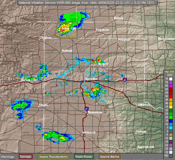 Radar Image for Severe Thunderstorms near Boise City, OK at 8/6/2020 6:28 PM CDT