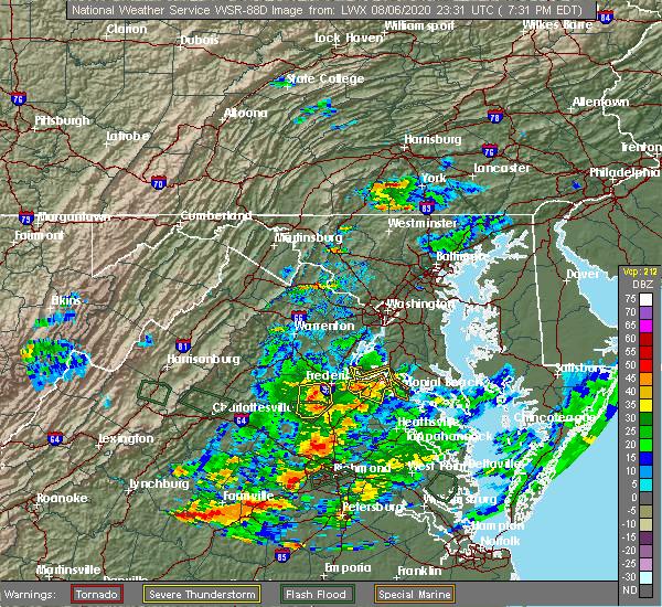 Radar Image for Severe Thunderstorms near Fredericksburg, VA at 8/6/2020 7:38 PM EDT