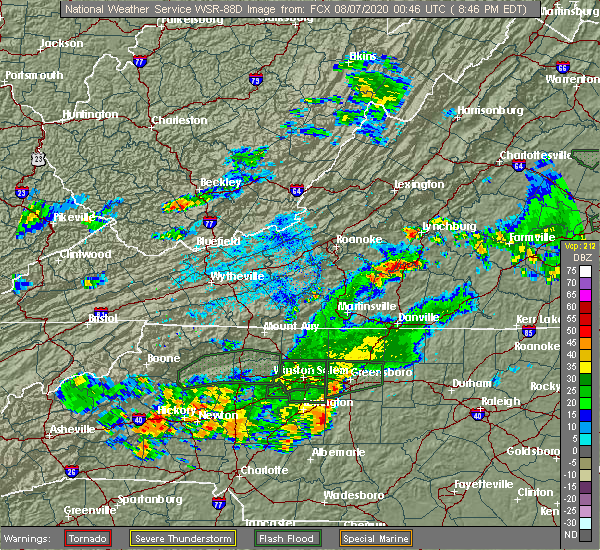 Radar Image for Severe Thunderstorms near Union Hall, VA at 8/6/2020 8:50 PM EDT
