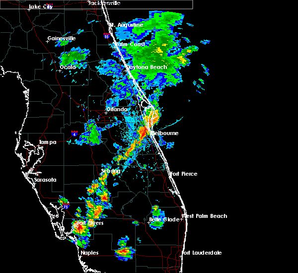 Radar Image for Severe Thunderstorms near Melbourne, FL at 7/2/2015 6:10 PM EDT