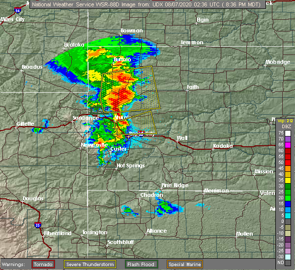 Radar Image for Severe Thunderstorms near Piedmont, SD at 8/6/2020 8:38 PM MDT