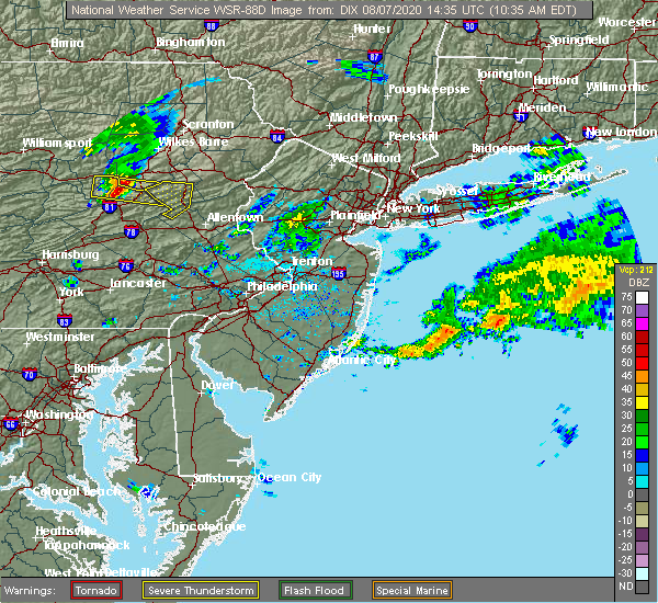 Radar Image for Severe Thunderstorms near Bowmanstown, PA at 8/7/2020 10:37 AM EDT