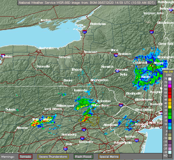 Radar Image for Severe Thunderstorms near Bowmanstown, PA at 8/7/2020 11:04 AM EDT