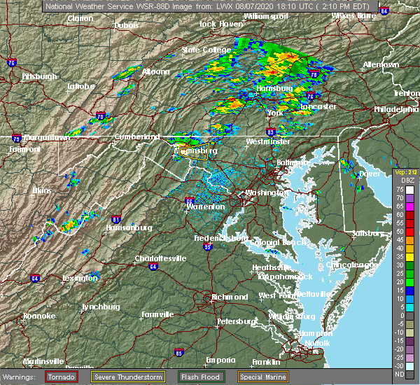 Radar Image for Severe Thunderstorms near Trego-Rohrersville Station, MD at 8/7/2020 2:14 PM EDT
