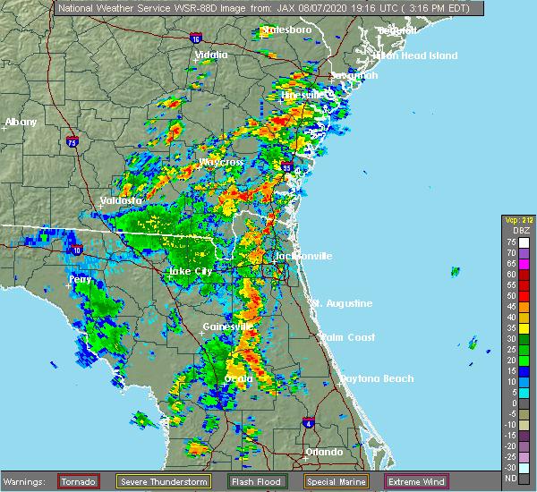 Radar Image for Severe Thunderstorms near Kingsland, GA at 8/7/2020 3:18 PM EDT