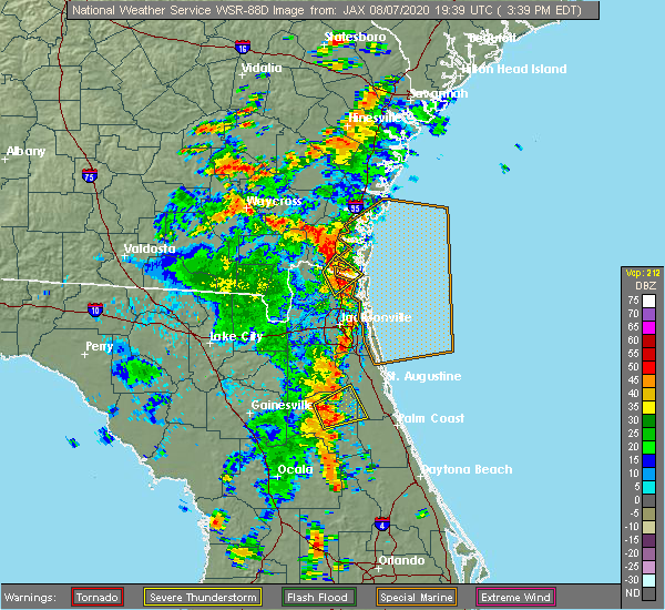 Radar Image for Severe Thunderstorms near Jacksonville, FL at 8/7/2020 3:46 PM EDT
