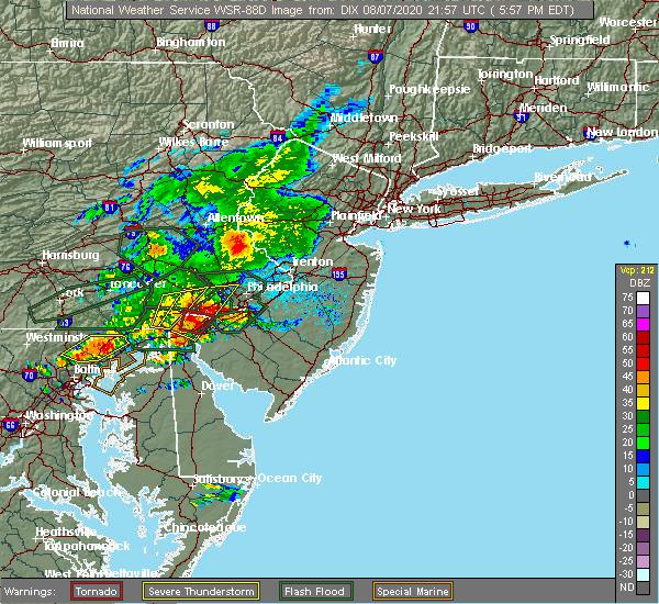 Radar Image for Severe Thunderstorms near Turnersville, NJ at 8/7/2020 6:00 PM EDT